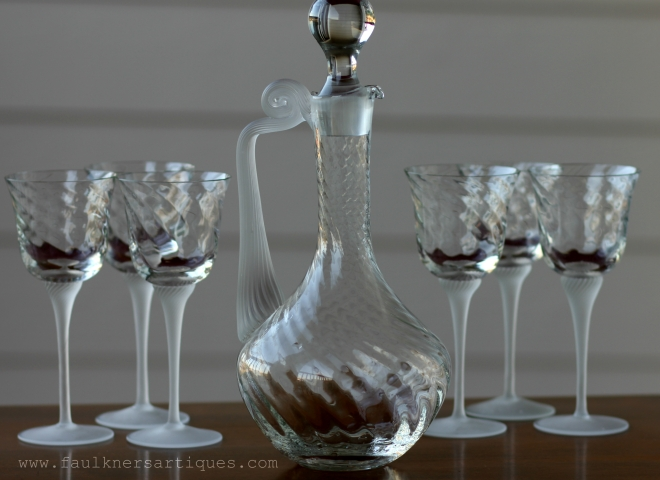 Wine Decanter, Italian Decanter, Wine Glass, Barley twist stems, 19th century glasses, victorian wine set, antique wine glasses and decanter, allen antiques, frisco antiques, Faulkner's Artiques,