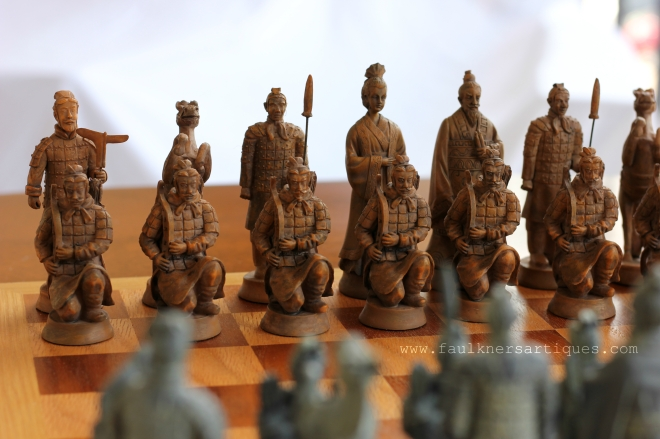 Chinese Chess Set, Bombay Chess Set, Warrior Chess Set, Chinese Warrior Chess Set, Oriental chess set, Faulkner's Artiques, Allen Antiques, Frisco Antiques