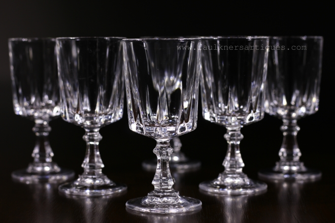 Antique French Lead Crystal Liquor Glasses, French lead crystal, lead cristal, Crystal d'arc, Frisco antiques, allen antiques, Faulkner's Artiques,