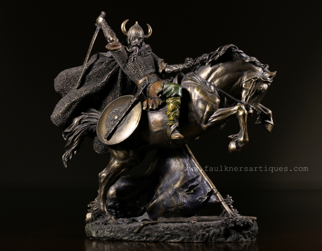 Viking warrior sculptures, viking warrior, bronze viking warrior, warrior on horseback, viking warrior on horseback, faulkner's artiques, allen antiques, frisco antiques
