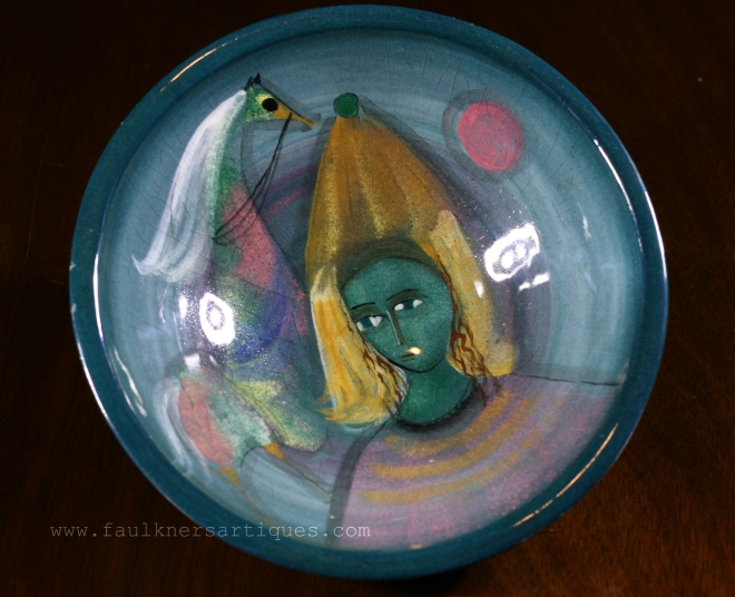 Polia Pillin, Polia Pillin Art Bowl, Polia Pillin art pottery, Polia Pillin for sale, Art Bowl, Pillin pottery antique, Pillin horse and woman bowl, Pillin pottery, Faulkner's Artiques, Allen Antiques, Frisco Antiques,