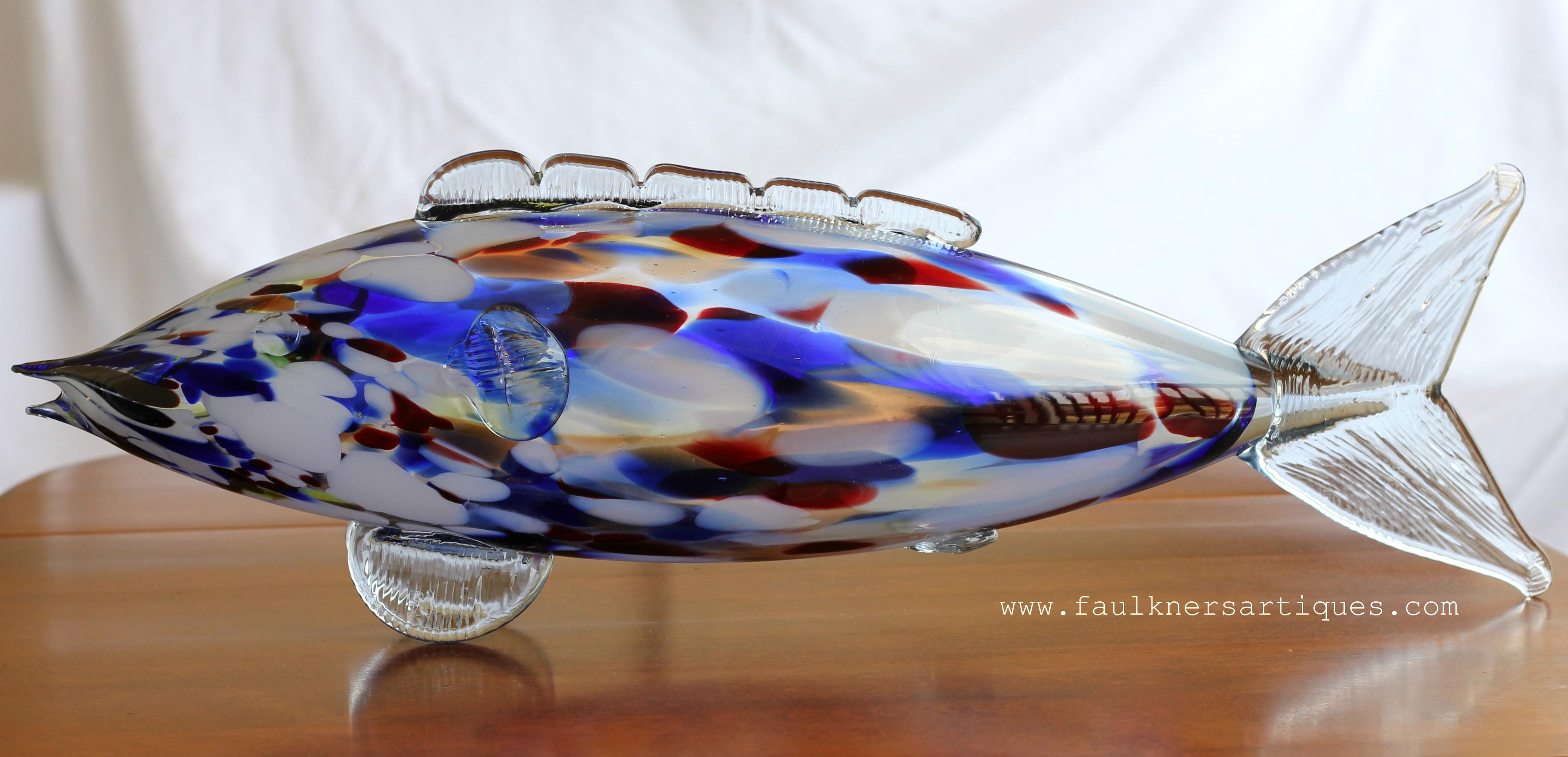 Private sale large murano glass fish faulkner 39 s artiques for Murano glass fish
