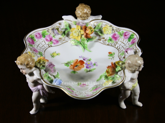 Dresden Cherub bowl, Antique Dresden, 1918 Dresden Bowl, perfect dresden cherub bowl, faulkner's artiques, Frisco antiques, Allen TX antiques, Antique dresden porcelain bowl, porcelain cherub bowl