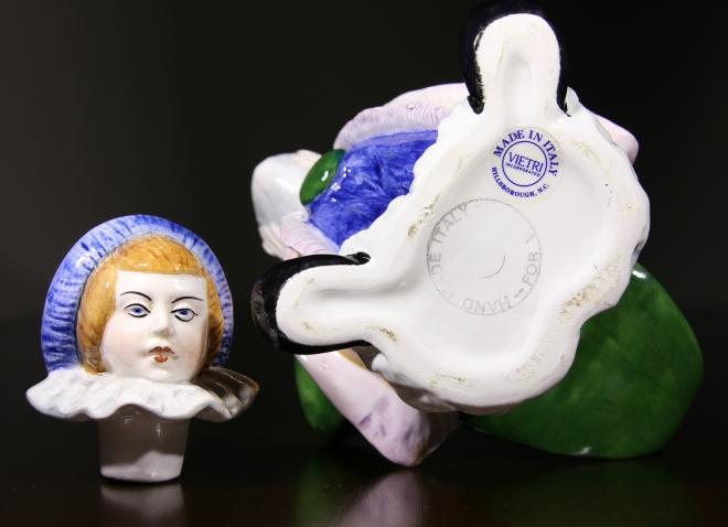 Vietri figural clown, Vietri italian clown,  rare vietri ceramic clown, clown teapot, vietri rare teapot, faulkner's artiques, Allen antique mall, frisco antiques, Allen antique dealer, good texas antique dealer,